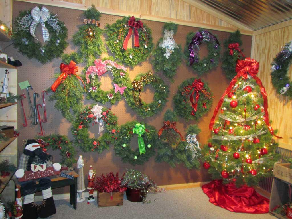 Wreaths Inside Christmas Tree Farm Gift Shop