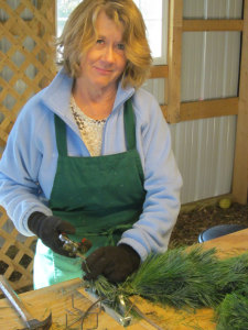 Marlene Building Christmas Wreath