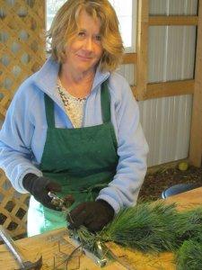 Marlene Building Christmas Wreath